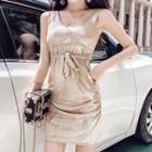 Sleeveless Metallic Minidress With Sash