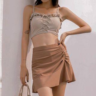 Set:  Lace-up Bikini Top + Swim Skirt + Swim Bottom