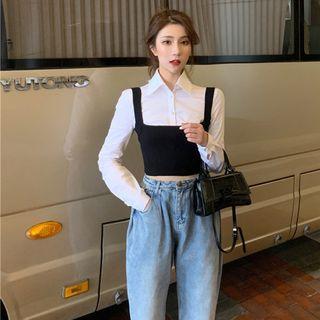 Plain Camisole / Plain Cropped Shirt / High-waist Jeans