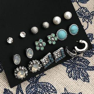Set: Stud Earring (various Designs) 0156a# - Set - Classic Earrings - Blue & Silver - One Size