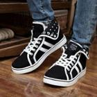Genuine-leather Contrast-trim Sneakers