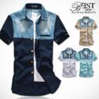 Short-sleeve Denim-panel Shirt