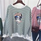Dog Print Striped Pullover
