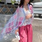 Plaid Shawl Pink & Blue - One Size