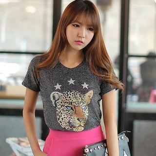 Tiger-print T-shirt
