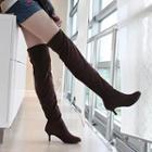 Kitten-heel Panel Over-the-knee Boots