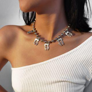 Alloy Tooth Fruit Necklace 3370 - Silver - One Size