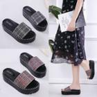 Plaid Slide Platform Sandals