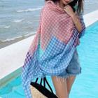Plaid Panel Shawl As Shown In Figure - One Size