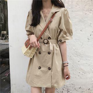 Elbow-sleeve Double Breasted Mini Coat Dress