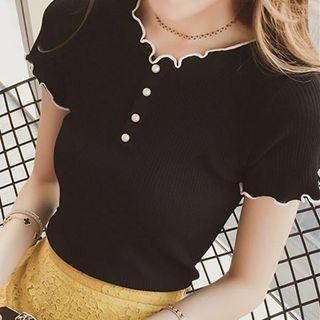 Faux Pearl Lettuce Edge Short-sleeve Knit Top