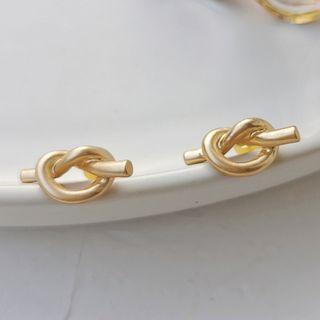 Alloy Knot Earring 1 Pair - Stud Earring - As Shown In Figure - One Size