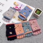 Bear Embroidered Fingerless Knit Gloves