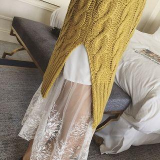 Lace-hem Long Skirt