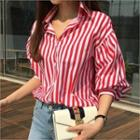 Balloon-sleeve Stripe Shirt