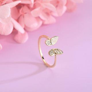 925 Sterling Silver Rhinestone Butterfly Open Ring Rs509 - Gold - One Size