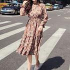 Long-sleeve Patterned Cutout A-line Midi Dress