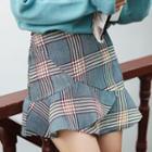 Ruffle Hem A-line Plaid Skirt