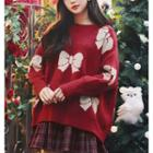 Bow Pattern Sweater Red - One Size