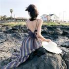 Striped Strappy Maxi Dress