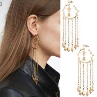 Hoop Detail Fringed Earrings