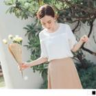 Lace Trim Short-sleeve Round Neck Chiffon Top