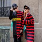 Couple Matching Letter Stripe Panel Long-sleeve Sweatshirt