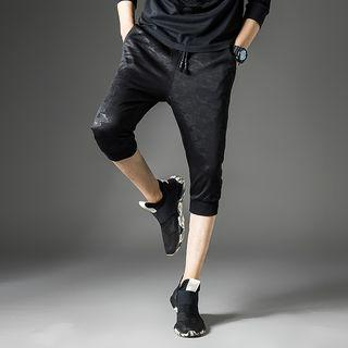 Drawstring Camouflage Cropped Pants