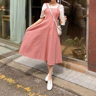 Smocked-back Plaid Pinafore Dress