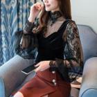 Set: Long-sleeve Lace Top + Velvet Camisole Top