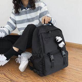 Snap Buckle Nylon Backpack Black - One Size