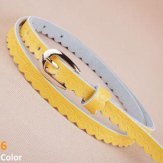 Embossed Faux Leather Slim Belt
