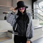 Faux Leather Plaid Panel Zip Jacket