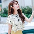 Cap-sleeve Dotted Shirt