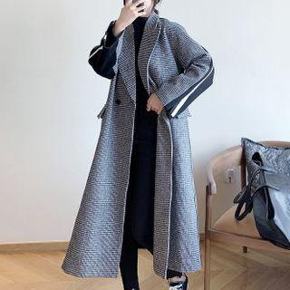Double Breasted Houndstooth Long Coat