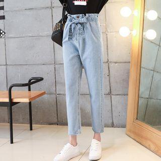 Washed Cropped Harem Jeans