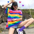 Color-block Striped Loose-fit Short-sleeve T-shirt