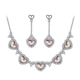 Set: Swarovski Elements Crystal Heart Necklace + Drop Earrings