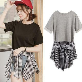 Mock Two-piece Check-panel Top