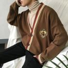 Applique Contrast-stripe Knit Cardigan