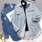Patch Distressed Loose-fit Denim Shirt