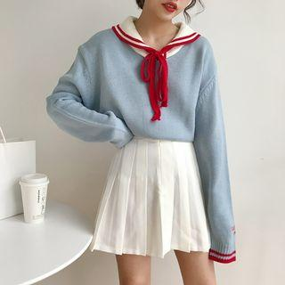 Long Sleeve Tie-neck Knit Top