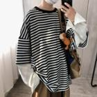 Mock Two-piece Loose-fit Striped Pullover