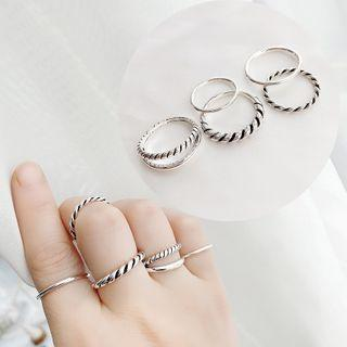 Set Of 5: Ring Set Of 5 - Twisted - Silver - One Size