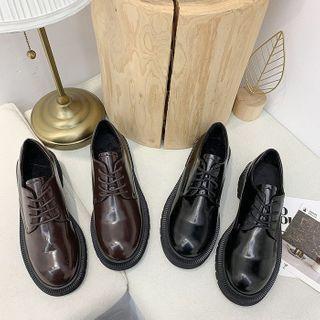 Plain Faux Leather Block Heel Oxford Shoes