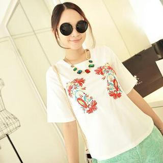Short-sleeve Embroidered Top