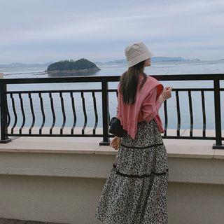 Band-waist Leopard Maxi Tiered Skirt