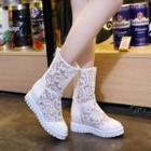 Lace Hidden Wedge Boots