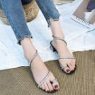 Rhinestone Loop Toe Low Heel Sandals