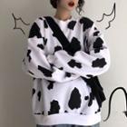 Cow Print Crewneck Pullover